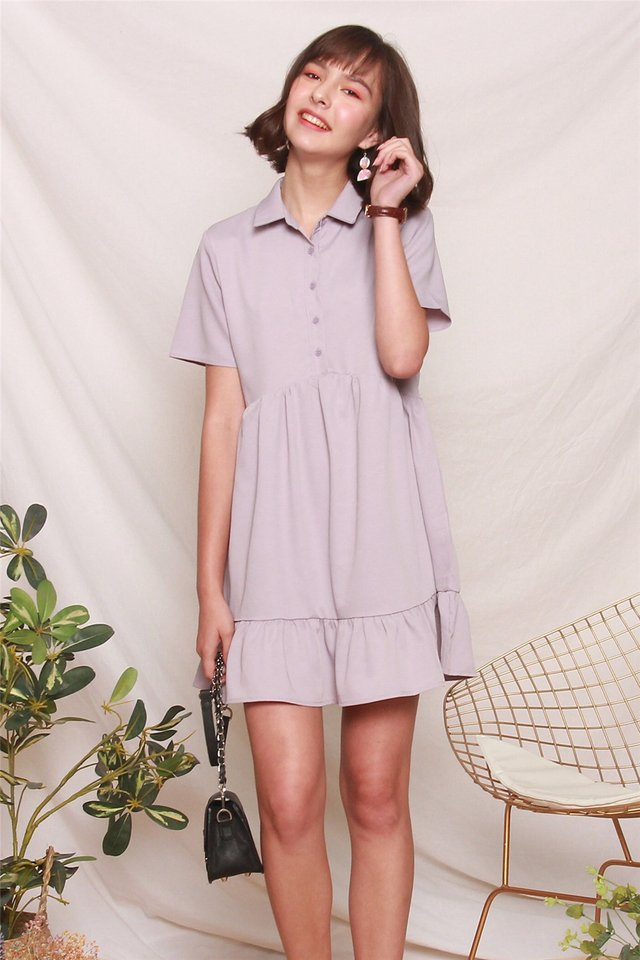 *BACK IN STOCK* ACW Button Down Flutter Hem Shirt Dress in Dusty Grey