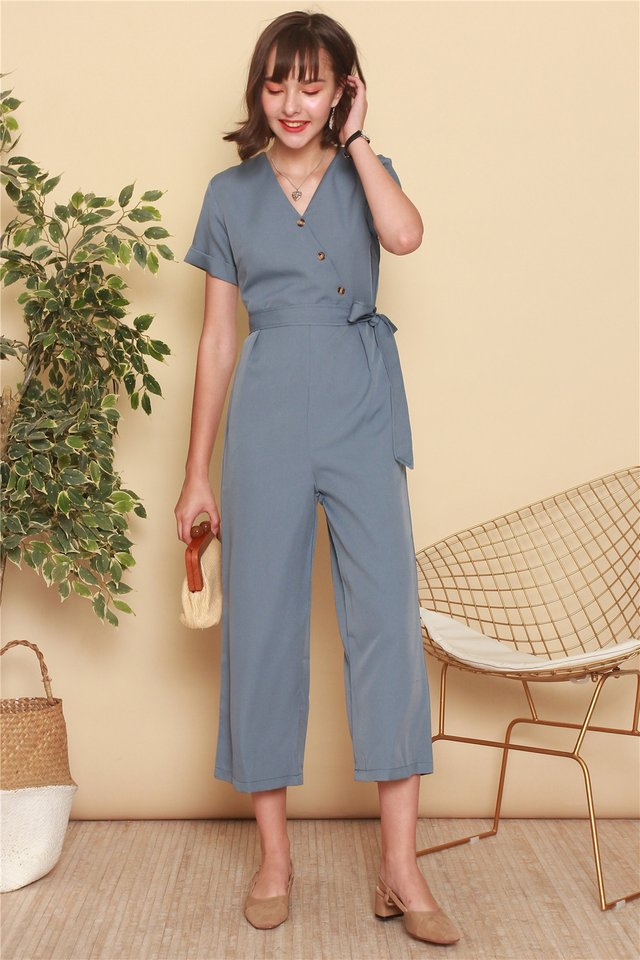 Asymmetric Button Sash Jumpsuit in Ash Blue