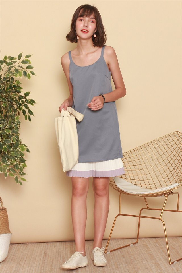 ACW Colourblock Pleats Slip Dress in Ash Blue