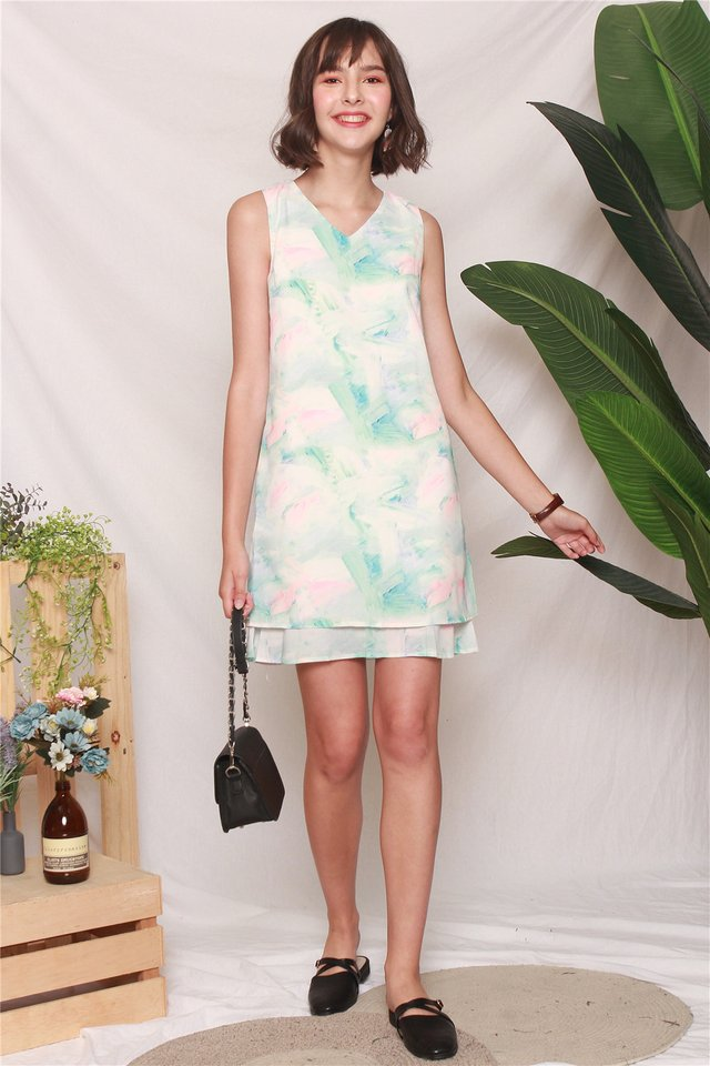 Ombre Layered Trapeze Dress in Mint