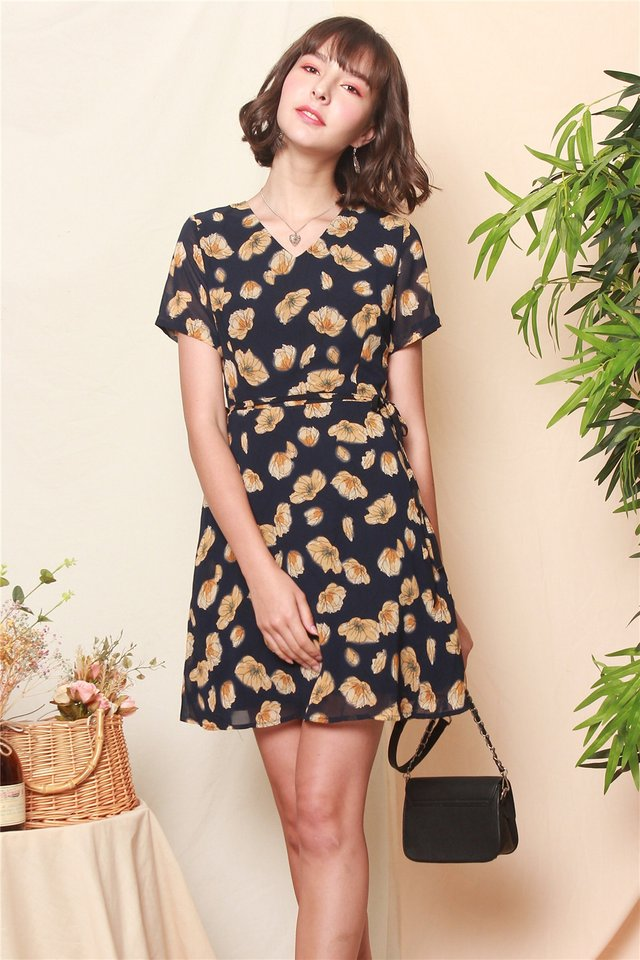 ACW Floral Sash Sleeved Swing Dress in Navy