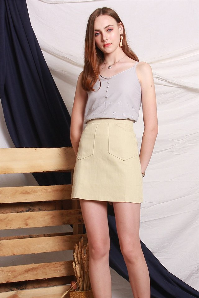 Eyelet Button Cami Top in Dusty Grey