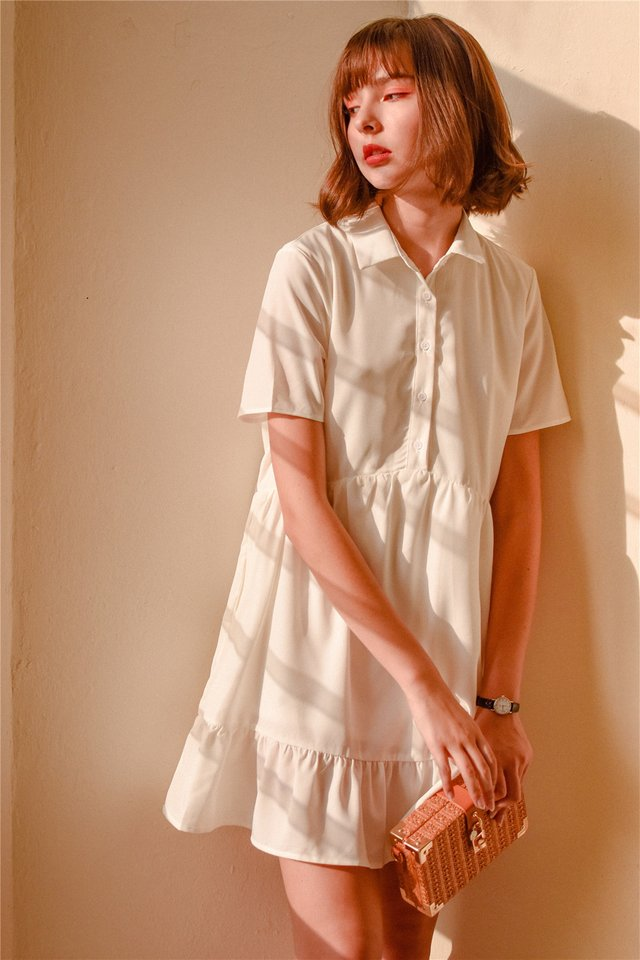 *BACK IN STOCK* ACW Button Down Flutter Hem Shirt Dress in White