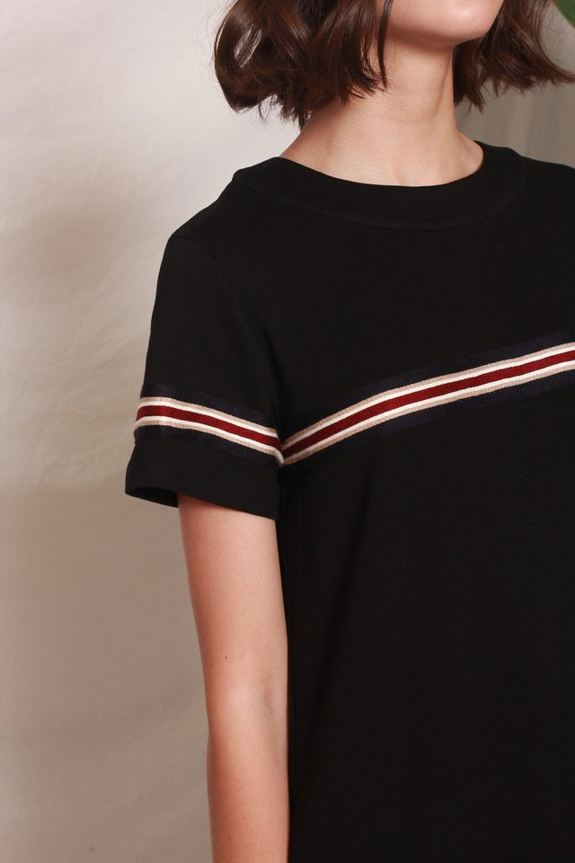 *BACK IN STOCK* ACW Knit Panel Stripe Tee Dress in Black