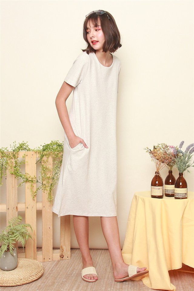ACW Basic Sleeved Knit Tee Dress in Grey
