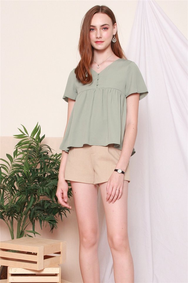 ACW Button Down Babydoll Top in Sage Green