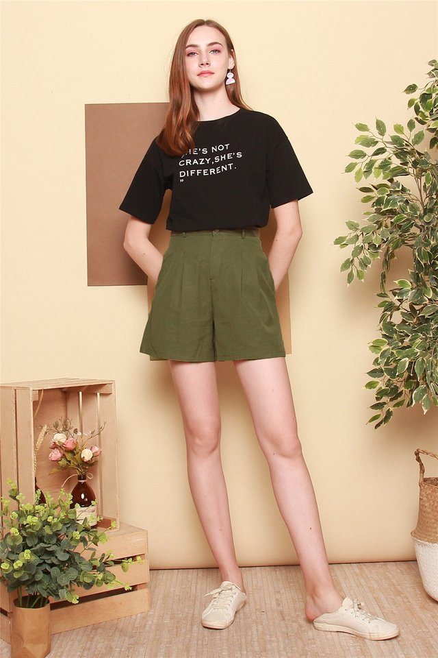 Basic High Waist Shorts in Olive