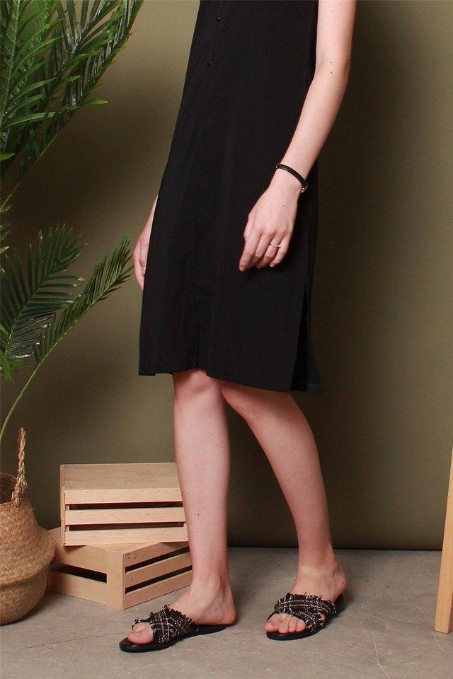 Tweed Criss Cross Sandals in Black