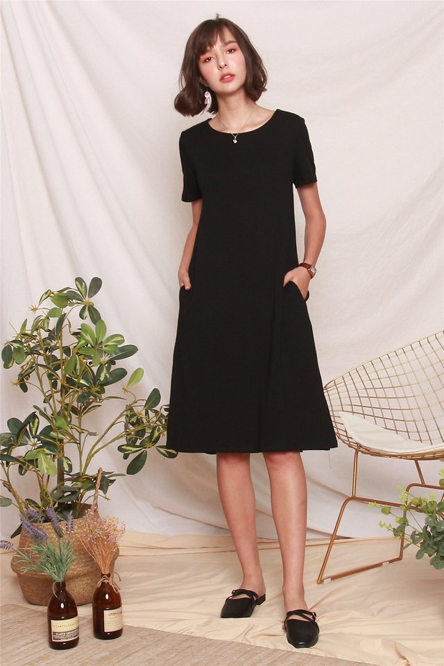 ACW Basic Sleeved Knit Tee Dress in Black
