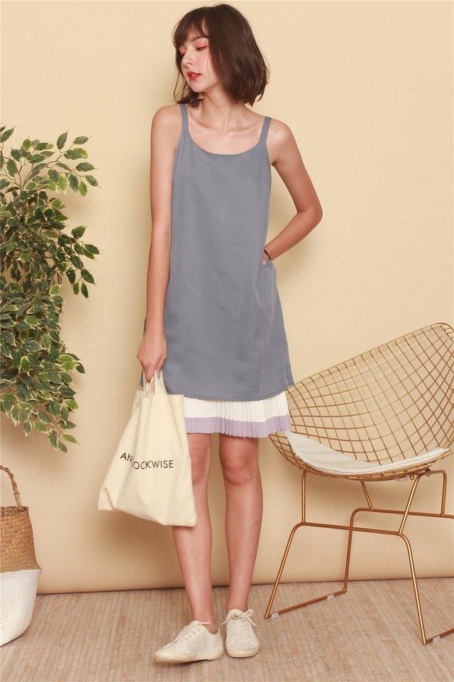 ACW Colourblock Pleats Slip Dress in Ash Blue