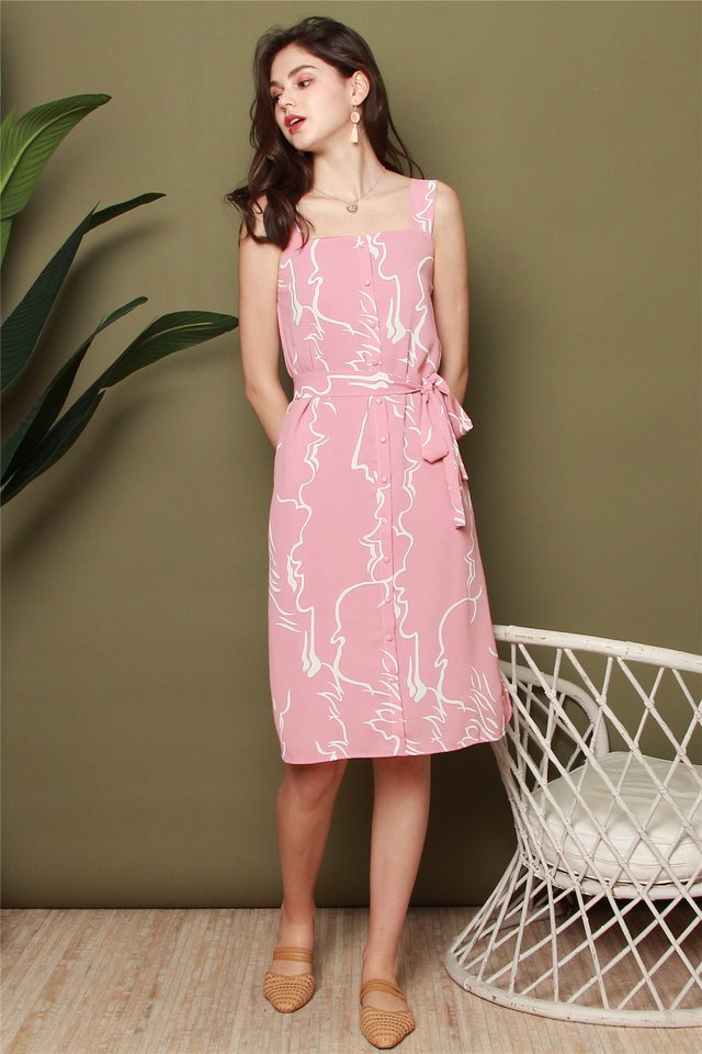 Button Panel Printed Sash Midi Dress in Pink