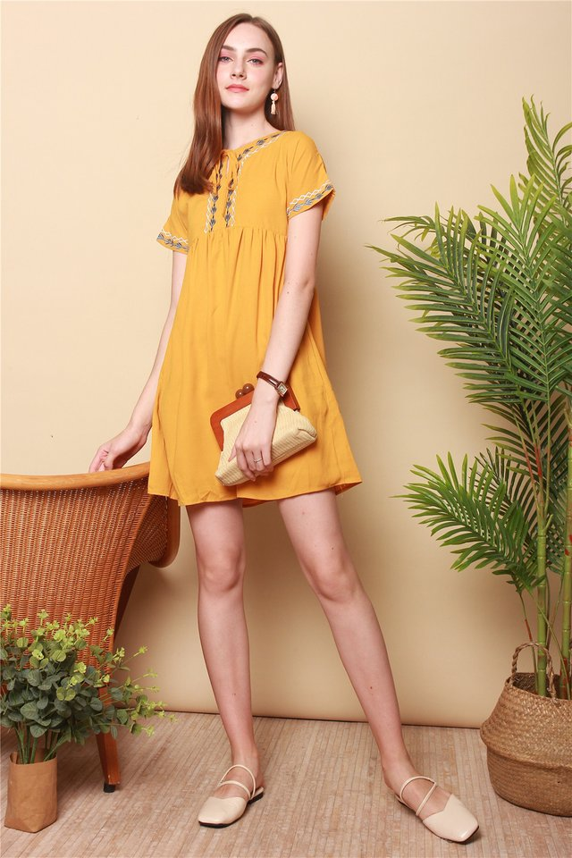 Embroidery Tie Front Babydoll Dress in Daffodil