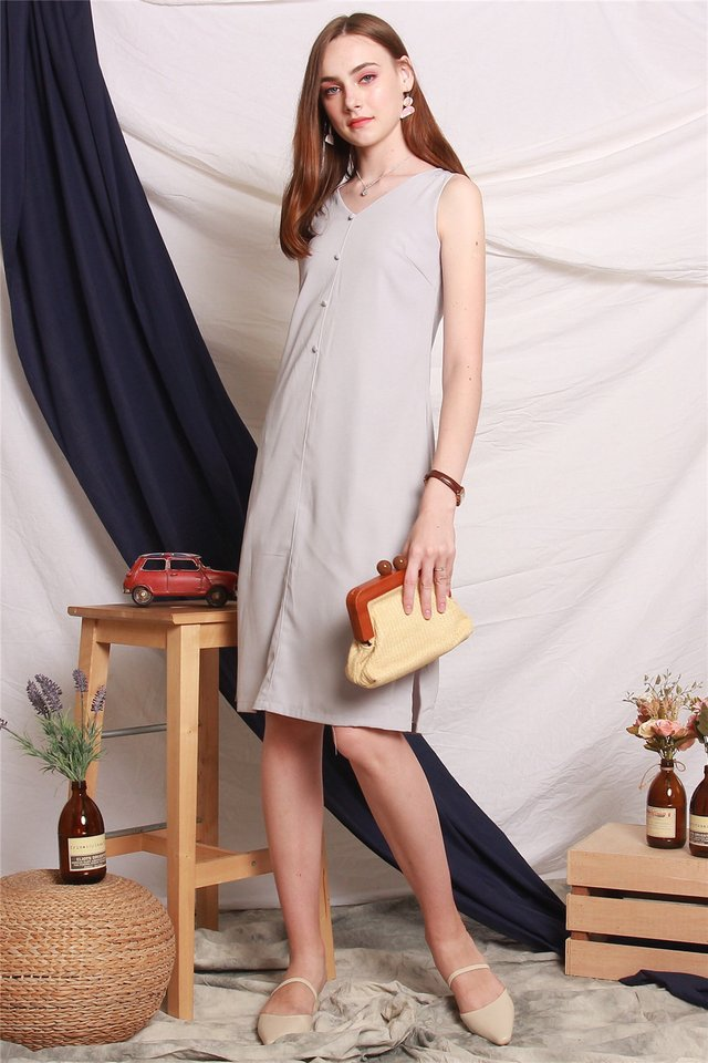 Button Down Side Slit Midi Dress in Grey