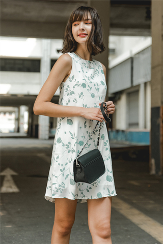 *BACK IN STOCK* ACW Mint Botanic Florals Trapeze Dress