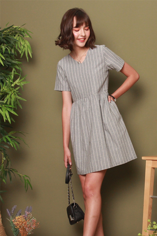 Linen Pinstripe Babydoll Dress in Grey