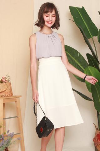 Double Wrapped Midi Skirt in White