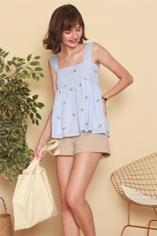 ACW Gingham Embroidery Flounce Top in Blue