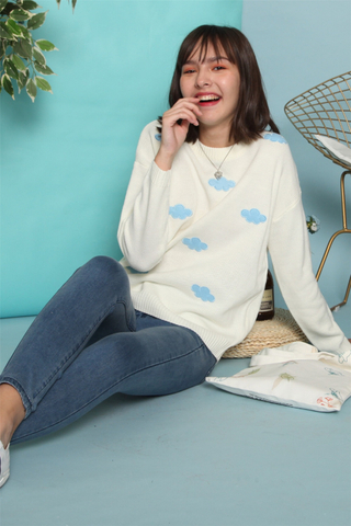*BACK IN STOCK* Cloud Print Knit Sweater in White