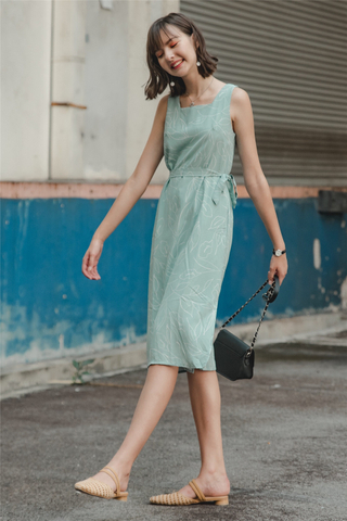 ACW Botanical Square Neck Midi Dress in Sage Green