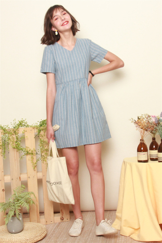 Linen Pinstripe Babydoll Dress in Blue