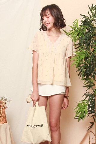 ACW Dandelion Button Babydoll Top in Ivory