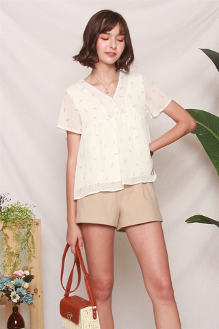 ACW Dandelion Button Babydoll Top in White