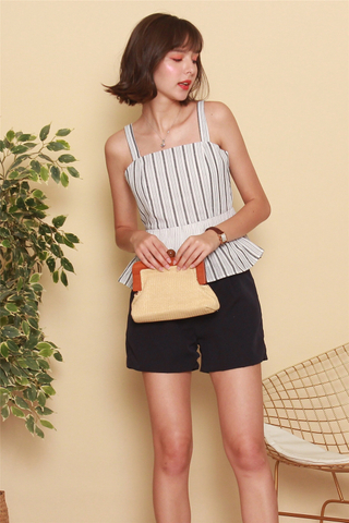 Pinstripe Colourblock Babydoll Top in Grey