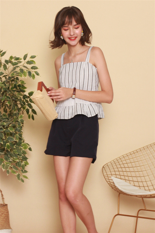 Belted Classic High Waisted Shorts in Navy