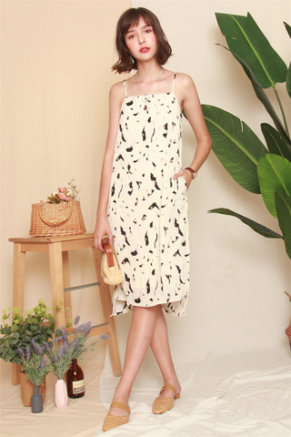 Abstract Midi Slip Dress in Ivory