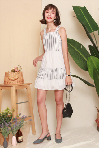 Pinstripe Tiered Babydoll Dress in Grey
