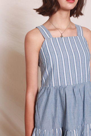 Pinstripe Tiered Babydoll Dress in Blue