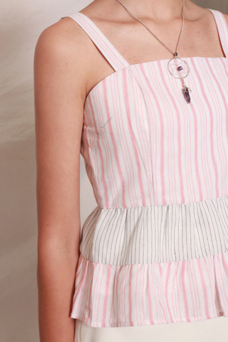 Pinstripe Colourblock Babydoll Top in Dusty Pink