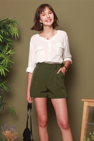 Belted Classic High Waisted Shorts in Army Green