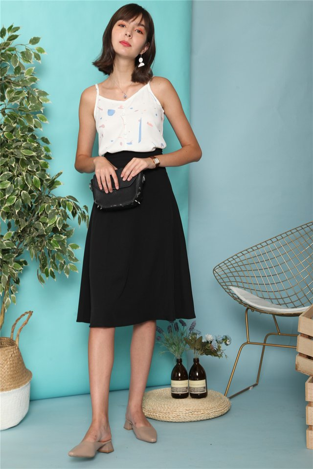 Double Wrapped Midi Skirt in Black