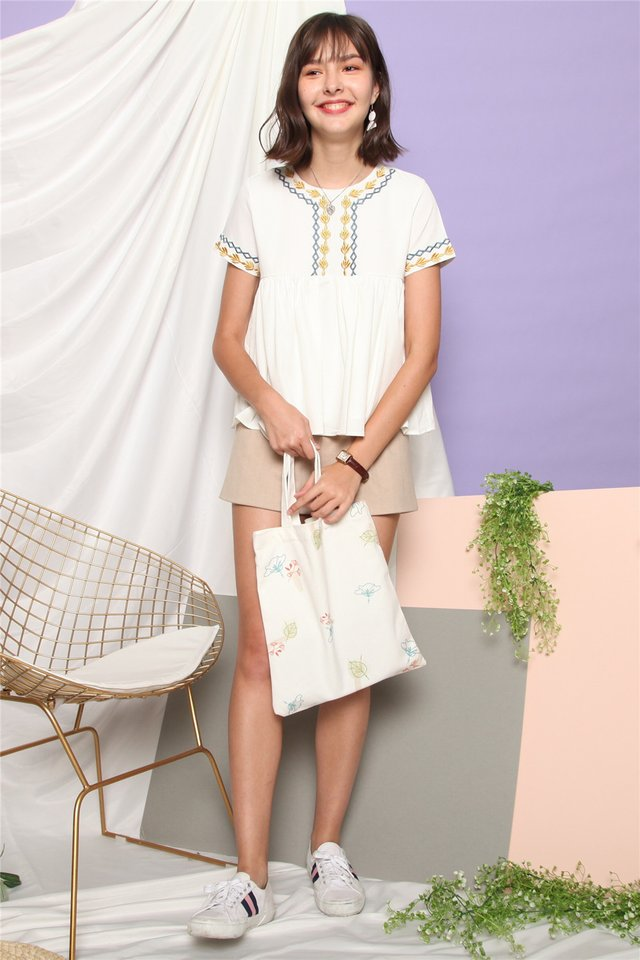 ACW Feather Embroidery Sleeve Babydoll Top in White