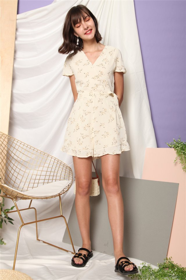 Wheat Leaf Printed Sash Romper in Ivory