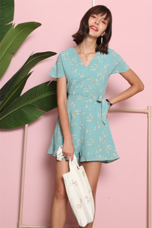 Wheat Leaf Printed Sash Romper in Mint
