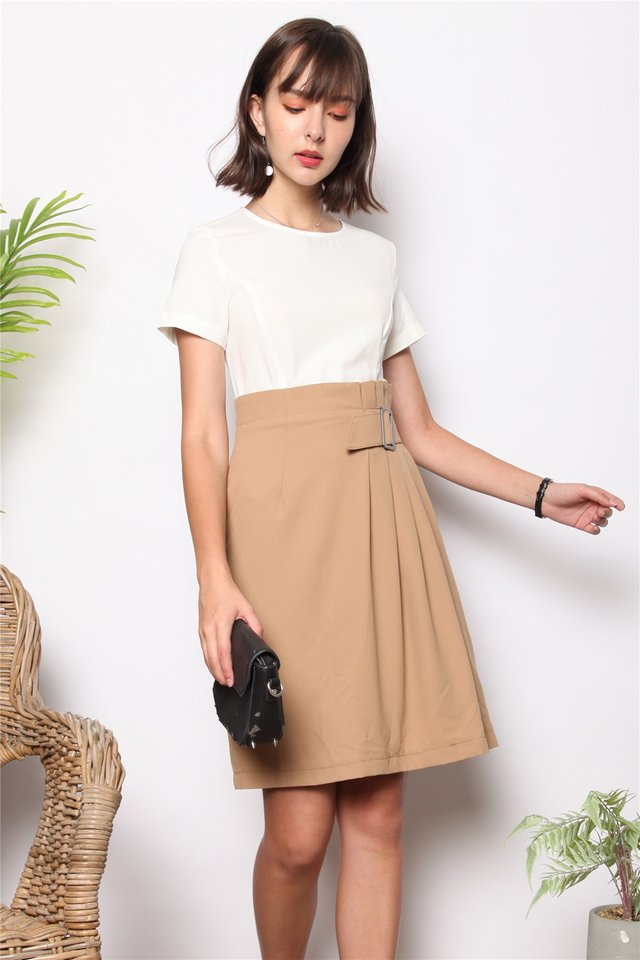 Colourblock Belted Pleat Work Dress in Khaki
