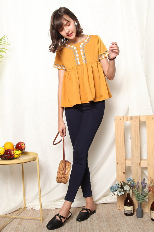 ACW Feather Embroidery Sleeve Babydoll Top in Daffodil