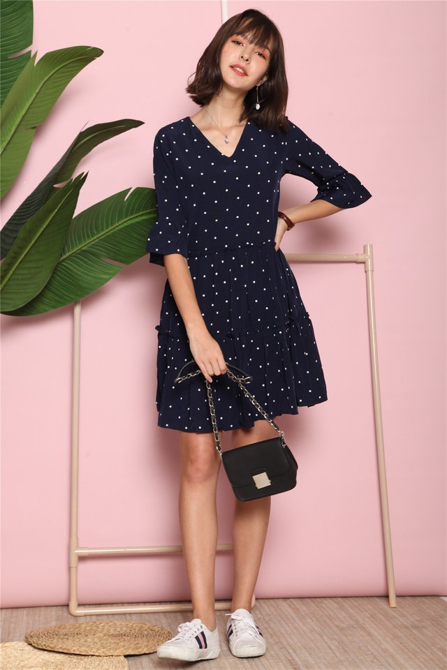 Frill Polka Dot Sleeve Babydoll Dress