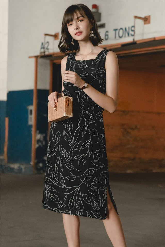 ACW Botanical Square Neck Midi Dress in Black