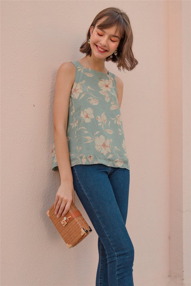 ACW Tropic Floral Cut In Top in Mint