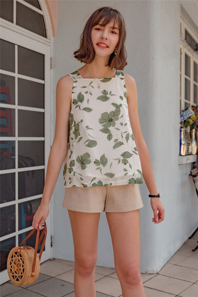 ACW Tropic Floral Cut In Top in Ivory