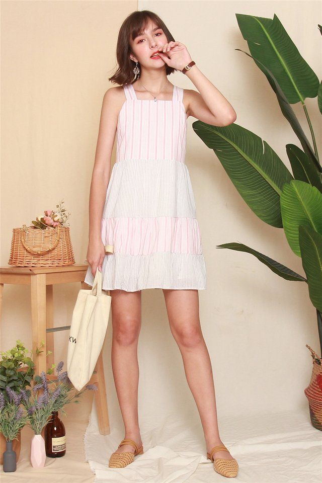 Pinstripe Tiered Babydoll Dress in Dusty Pink
