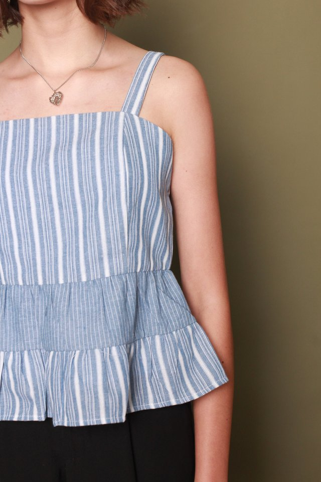 Pinstripe Colourblock Babydoll Top in Blue