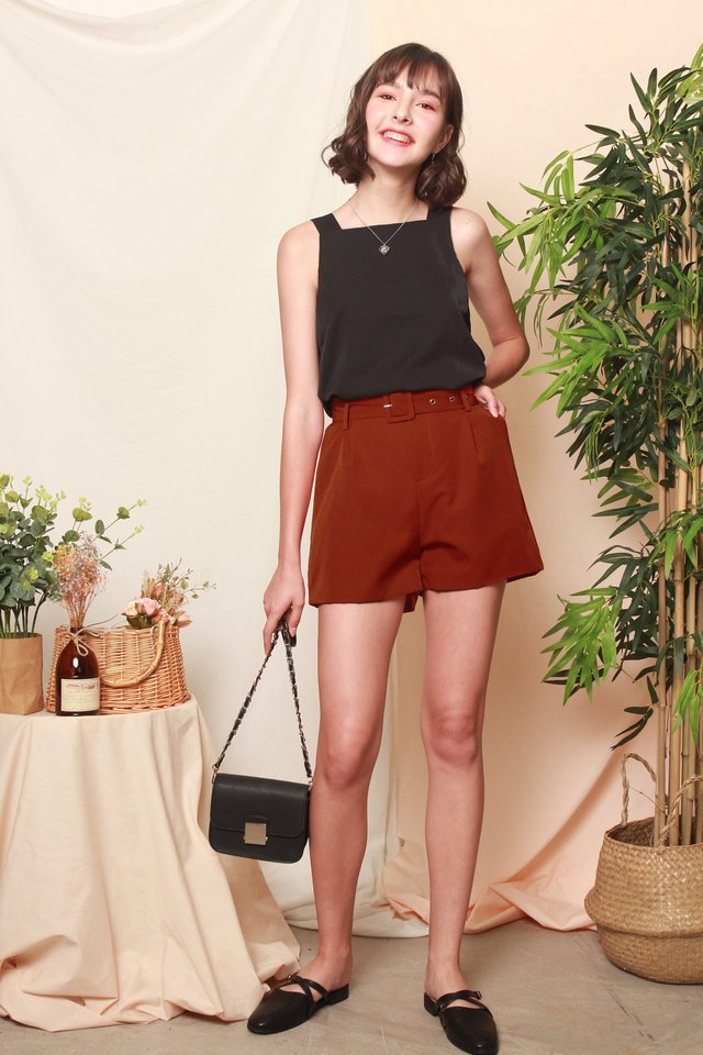Belted Classic High Waisted Shorts in Rust