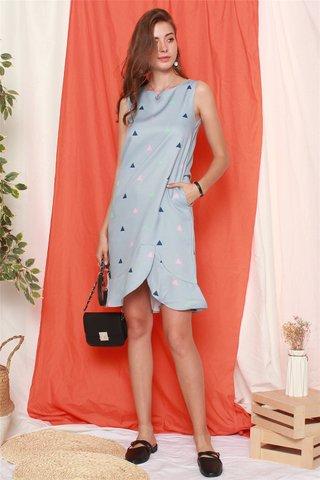 Triangle Prints Curved Hem Dress in Blue