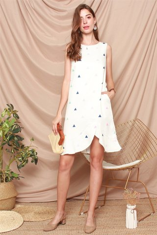 Triangle Prints Curved Hem Dress in White