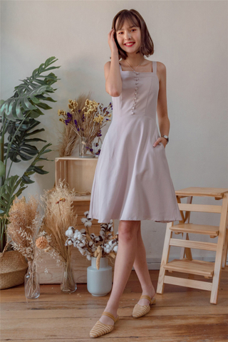 Button Panel Swing Dress in Dusty Grey