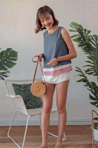 ACW Triple Colourblock Tiered Top in Ash Blue